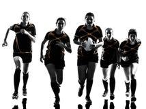 Het silhouet van het de spelersteam van rugbyvrouwen Royalty-vrije Stock Afbeelding