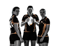 Het silhouet van het de spelersteam van rugbyvrouwen Stock Afbeeldingen