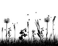 Het silhouet van het gras Stock Afbeeldingen