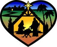 Het Silhouet van het Hart van de geboorte van Christus Stock Fotografie