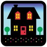 Het silhouet van het huis stock afbeeldingen