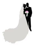 Het silhouet van het huwelijk, cijfer Stock Foto