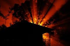 Het Silhouet van het kamp Stock Foto's