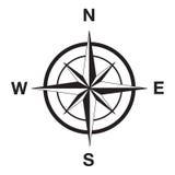Het silhouet van het kompas in zwarte
