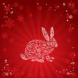 Het silhouet van het konijn Stock Foto
