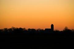 Het Silhouet van het Landschap van de kerk Stock Foto