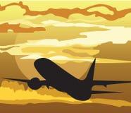 Het silhouet van het luchtvliegtuig in de hemel Royalty-vrije Stock Fotografie