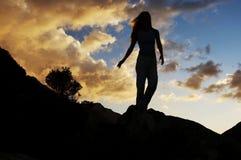Het silhouet van het meisje Stock Foto