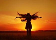 Het silhouet van het meisje Royalty-vrije Stock Foto's