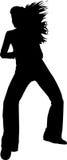 Het silhouet van het meisje aan de wind Royalty-vrije Stock Afbeeldingen