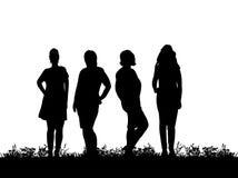 Het silhouet van het meisje bevindt zich prachtig op het gras Royalty-vrije Stock Foto