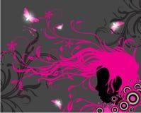 Het silhouet van het meisje met bloemenornamenten Stock Foto's