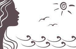 Het silhouet van het meisje op vakantie vector illustratie
