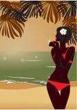 Het silhouet van het meisje `s op strand Royalty-vrije Stock Afbeeldingen