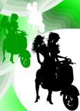 Het Silhouet van het Meisje van Vespa Royalty-vrije Stock Fotografie