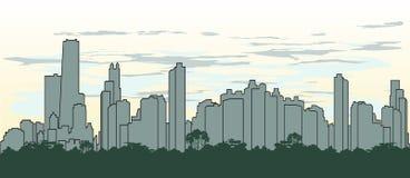 Het silhouet van het overzicht van de stad in groene kleur Stock Afbeeldingen