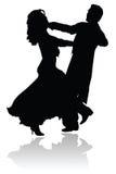 Het Silhouet van het Paar van de Dans van de wals Royalty-vrije Stock Afbeelding