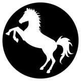 Het silhouet van het paard in zwarte cirkel Stock Foto