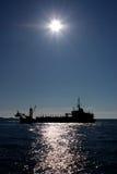 Het silhouet van het schip Stock Foto