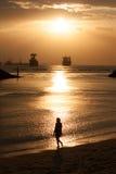 Het silhouet van het Sentosastrand Stock Foto's