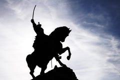 Het Silhouet van het Standbeeld van de Ruiter van de sabel Stock Afbeelding