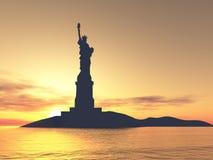 Het silhouet van het Standbeeld van de vrijheid Royalty-vrije Stock Foto's