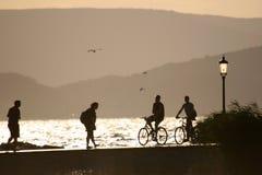 Het silhouet van het strand Royalty-vrije Stock Afbeeldingen