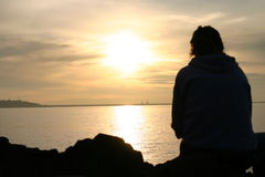 Het Silhouet van het strand stock afbeeldingen