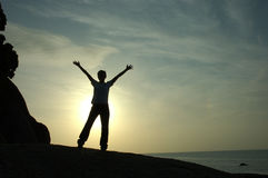 Het Silhouet van het succes en van de Voltooiing Royalty-vrije Stock Foto