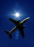 Het silhouet van het vliegtuig royalty-vrije stock afbeeldingen