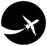 Het silhouet van het vliegtuig Stock Foto's