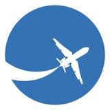 Het silhouet van het vliegtuig Stock Fotografie