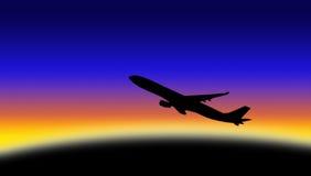 Het silhouet van het vliegtuig Stock Afbeeldingen