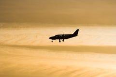 Het silhouet van het vliegtuig Stock Afbeelding