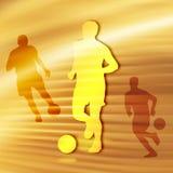Het Silhouet van het voetbal Stock Afbeeldingen