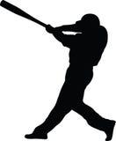 Het Silhouet van het honkbalbeslag stock foto