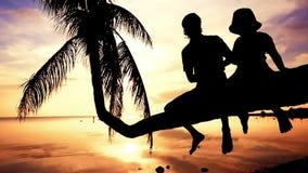 Het silhouet van jonge gelukkige vader met zijn dochter zit op een palm tijdens verbazende zonsondergang Hebbend pret op gelukkig stock video
