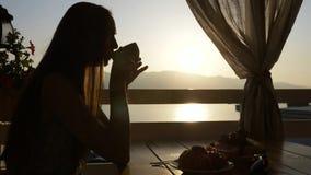 Het silhouet van jonge vrouw zit in een koffie met panorama's van overzeese baai Royalty-vrije Stock Foto's