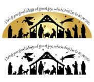 Het Silhouet van Kerstmis van de geboorte van Christus Royalty-vrije Stock Foto's
