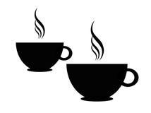 Het silhouet van koffiekoppen Stock Foto's