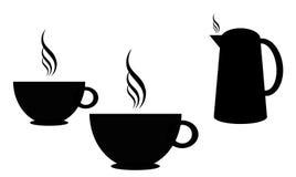 Het silhouet van koffiekoppen Royalty-vrije Stock Afbeeldingen