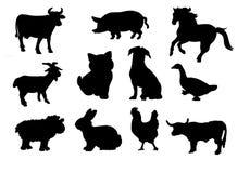 Het silhouet van landbouwbedrijfdieren stock afbeeldingen
