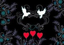 Het silhouet van liefdevogels met ornamenten Royalty-vrije Stock Afbeeldingen