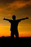 Het silhouet van mensen stock foto's