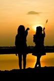 Het silhouet van mensen stock foto