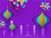 Het silhouet van moskee met document sneed lantaarns en Islamitische die document kunst op purpere achtergrond voor Islamitische  vector illustratie