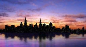 Het silhouet van New York Stock Afbeeldingen