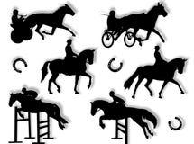 Het silhouet van paardrijden Stock Fotografie