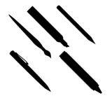 Het silhouet van pennen Stock Fotografie