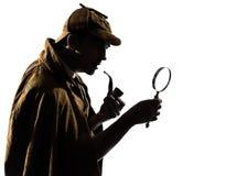 Het silhouet van Sherlock holmes Stock Fotografie